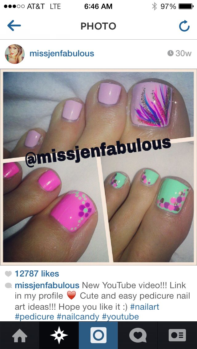 Cute spring toes | decoracion uñas | Pinterest | Pedicura, Diseños ...