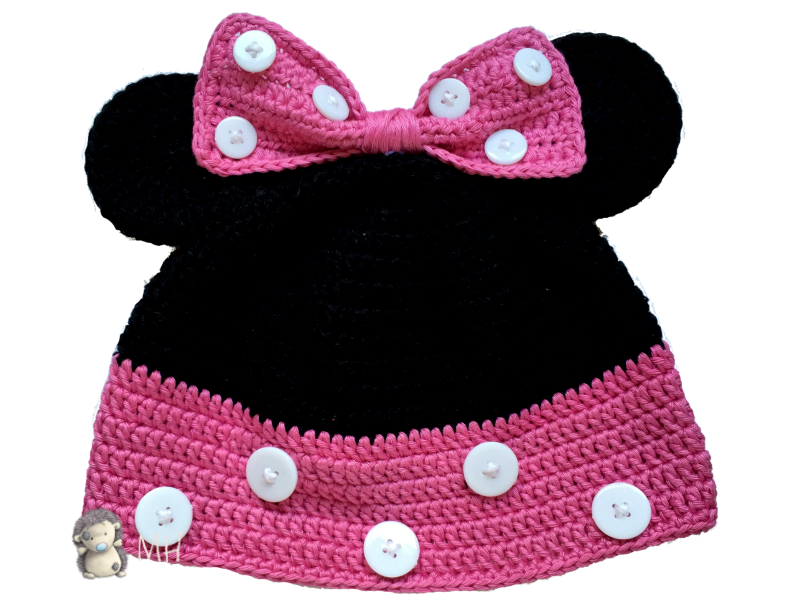 Gorro Minnie Mouse a crochet, ¡patrón gratis! | Minnie mouse ...