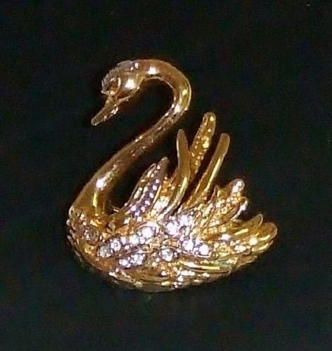 825~Vintage Signed Marvella Gold Tone Clear Rhinestone Figural Swan Brooch Pin** #Marvella https://www.facebook.com/AColourfulPast