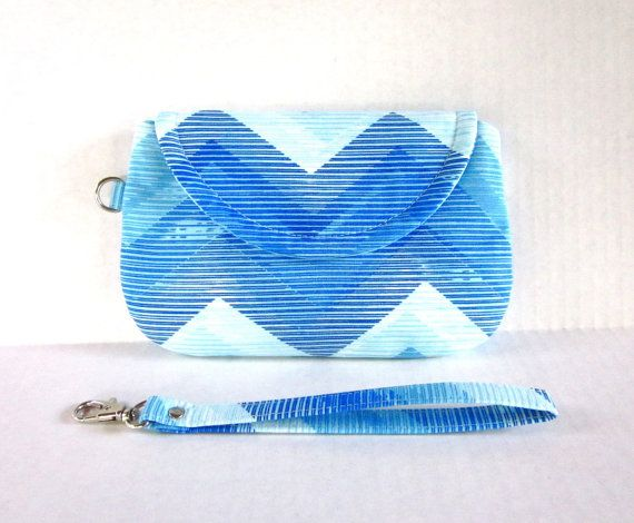 Blue Teal Ombré Chevron Clutch with Wrist Strap by by waterpath, $25.00