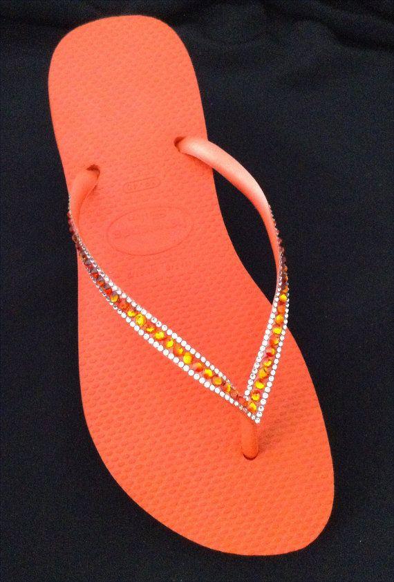 70eeee61274f23 Orange Havaianas Slim Flip Flops w  Swarovski Crystal Bling
