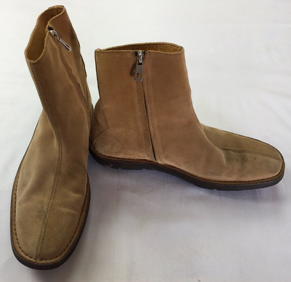ce884230f  850 MEN BALLY Tortel Suede Leather Tan Camel Zip Boots Shoe Ankle Boot  SIZE 9  Bally  AnkleBoots