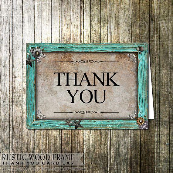 Rustic Thank You Card - Rustic Wood & embellishments Digital Thank ...