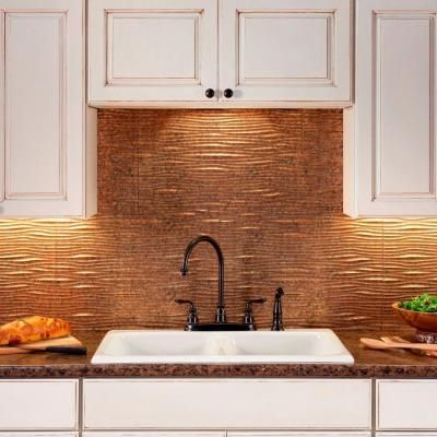 24 In X 18 In Waves Pvc Decorative Tile Backsplash In