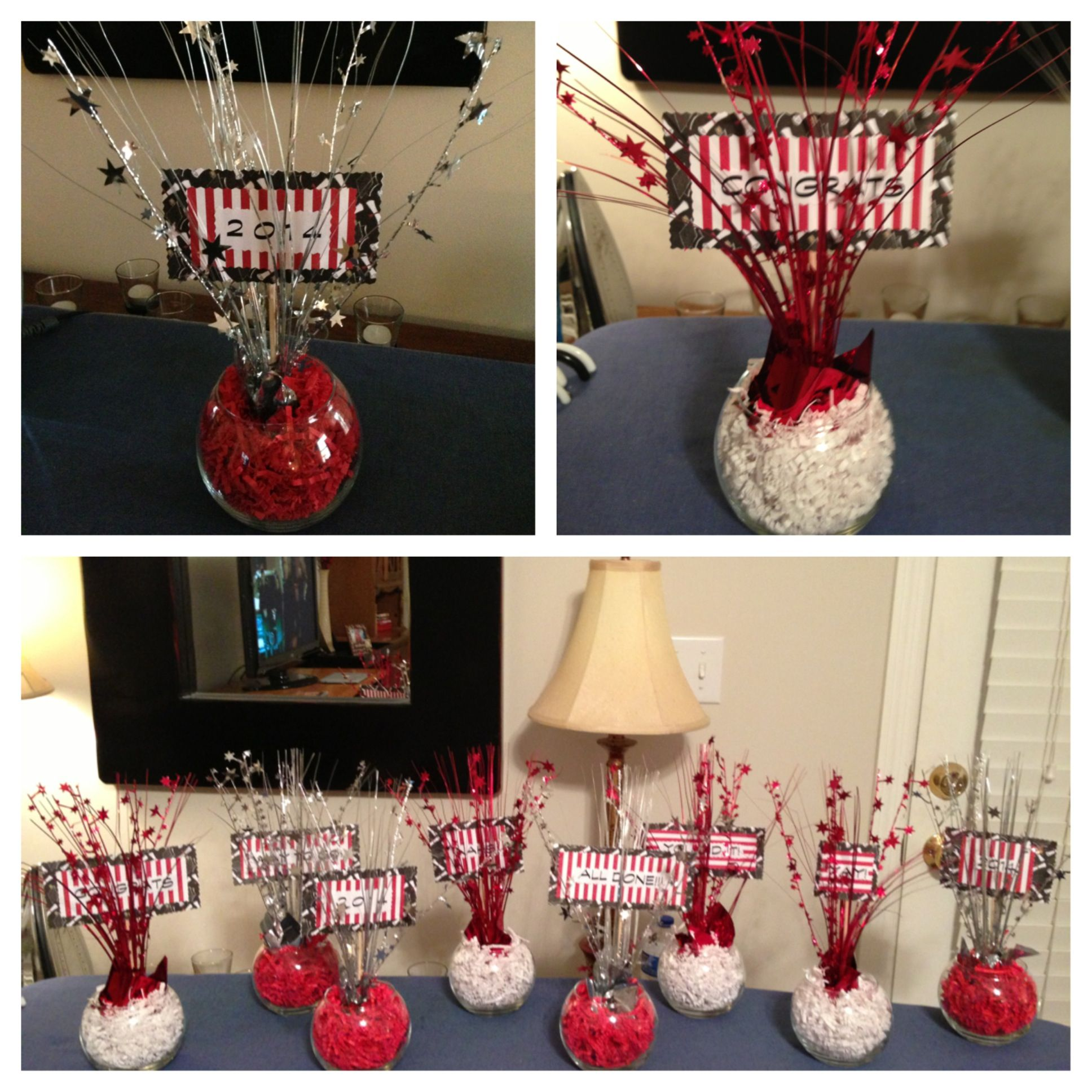 Graduation Centerpieces In Black, Red And White. (My Own