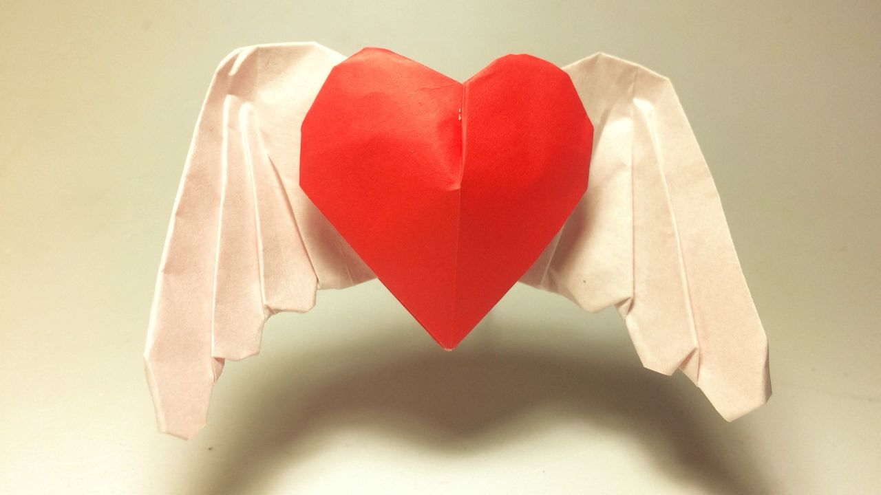 Valentine S Day Origami Angel Heart Wing Heart By Paperph2 Angel Heart Wing Heart Design And Fold By Me Paperph2 From Origami 3d Heart Heart With Wings