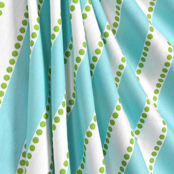 Fabric Shower Curtain Lulu Aqua Blue Chartreuse Twill Extra Long 7274