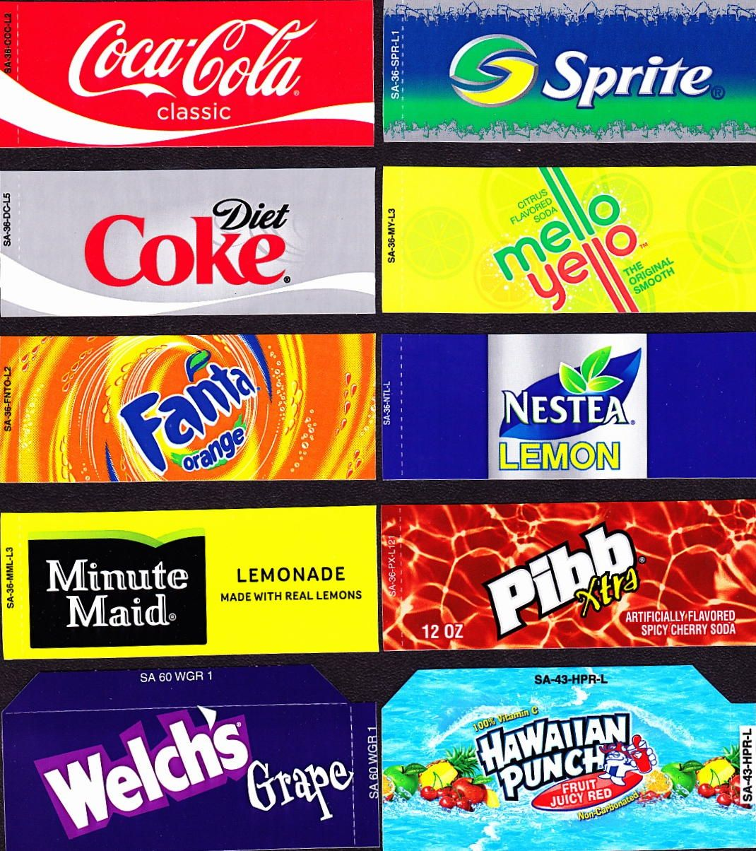 Coke Machine Labels   Coke Mixed Set Small Flavor Labels Soda