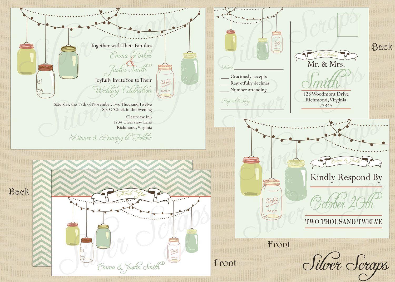 Vintage Hanging Mason Jars - Custom Wedding Invitation Suite ...