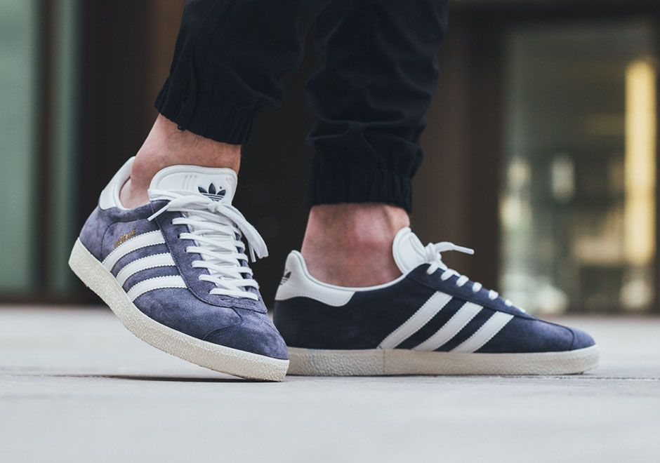 adidas gazelle blue on feet
