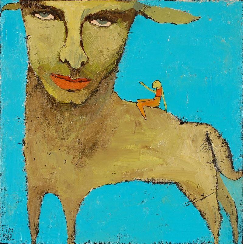 Lamb Boy 13.5x13.5 acrylic on canvas Tyler White Gallery - Greensboro, NC