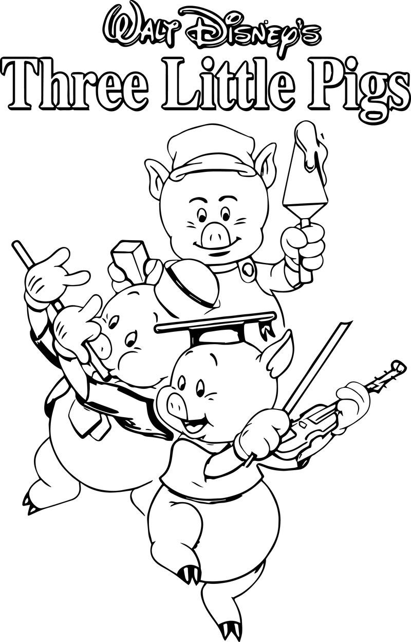 Awesome Three Little Pigs And The Big Bad Wolf Children Story Coloring Page Cartoon Coloring Pages Little Pigs Pig Coloring