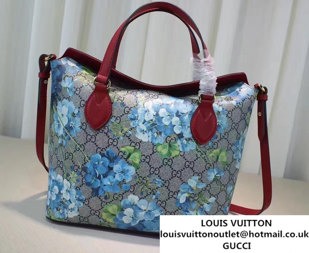 03855812681c Gucci GG Supreme Small Top Handle Tote Bag 429147 Blooms Blue ...