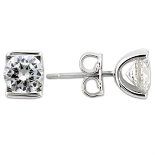 Rhodium Sterling Silver Stud Earrings