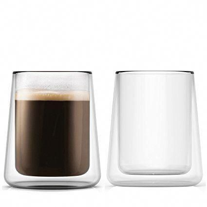 Double Wall Glass Cups 85 Ounces Set Of 2 Transparent