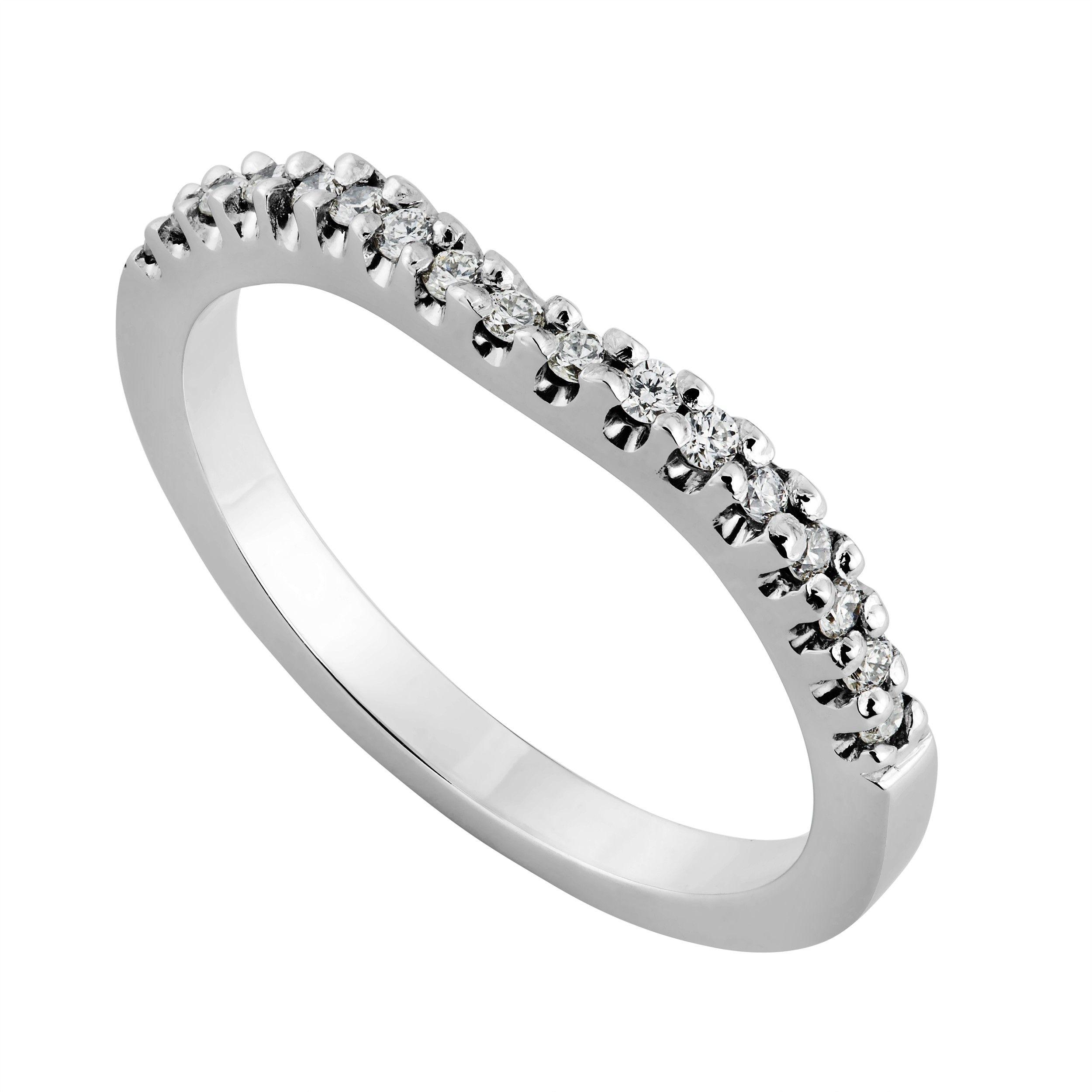 Ladies' 18ct white gold 0.16 carat diamond shaped 2mm