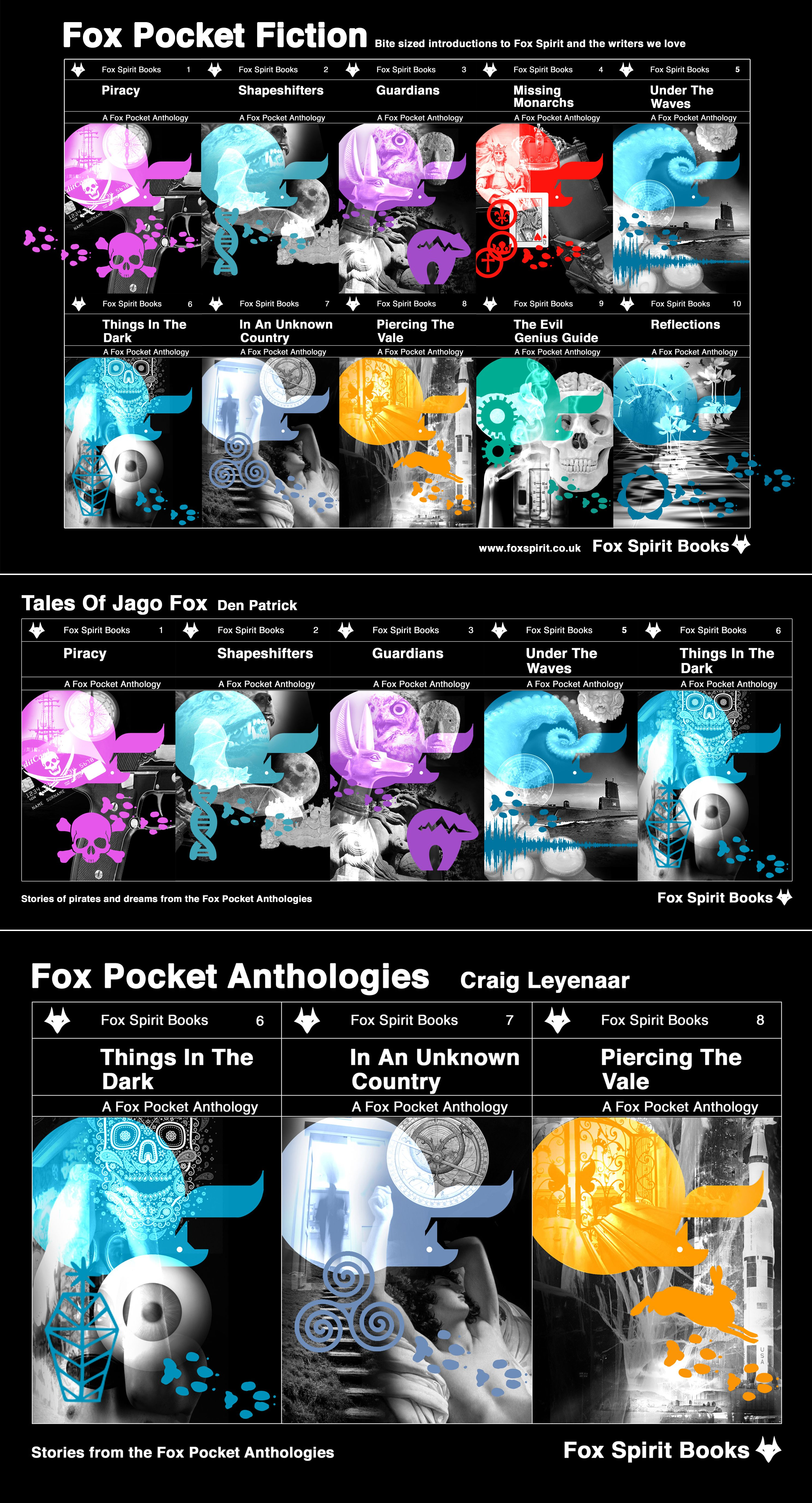 Book cover designs for the Fox Pocket range of science fiction & fantasy anthologies from Fox Spirit. Den Patrick & Craig Leyenaar story arc sets.