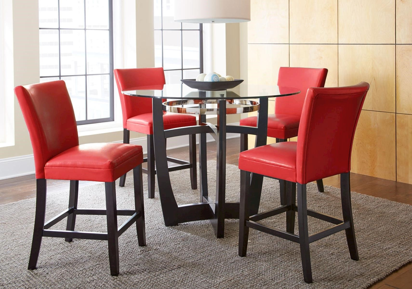 Lacks Matinee Red 5 Pc Counter Height Dining Set Counter