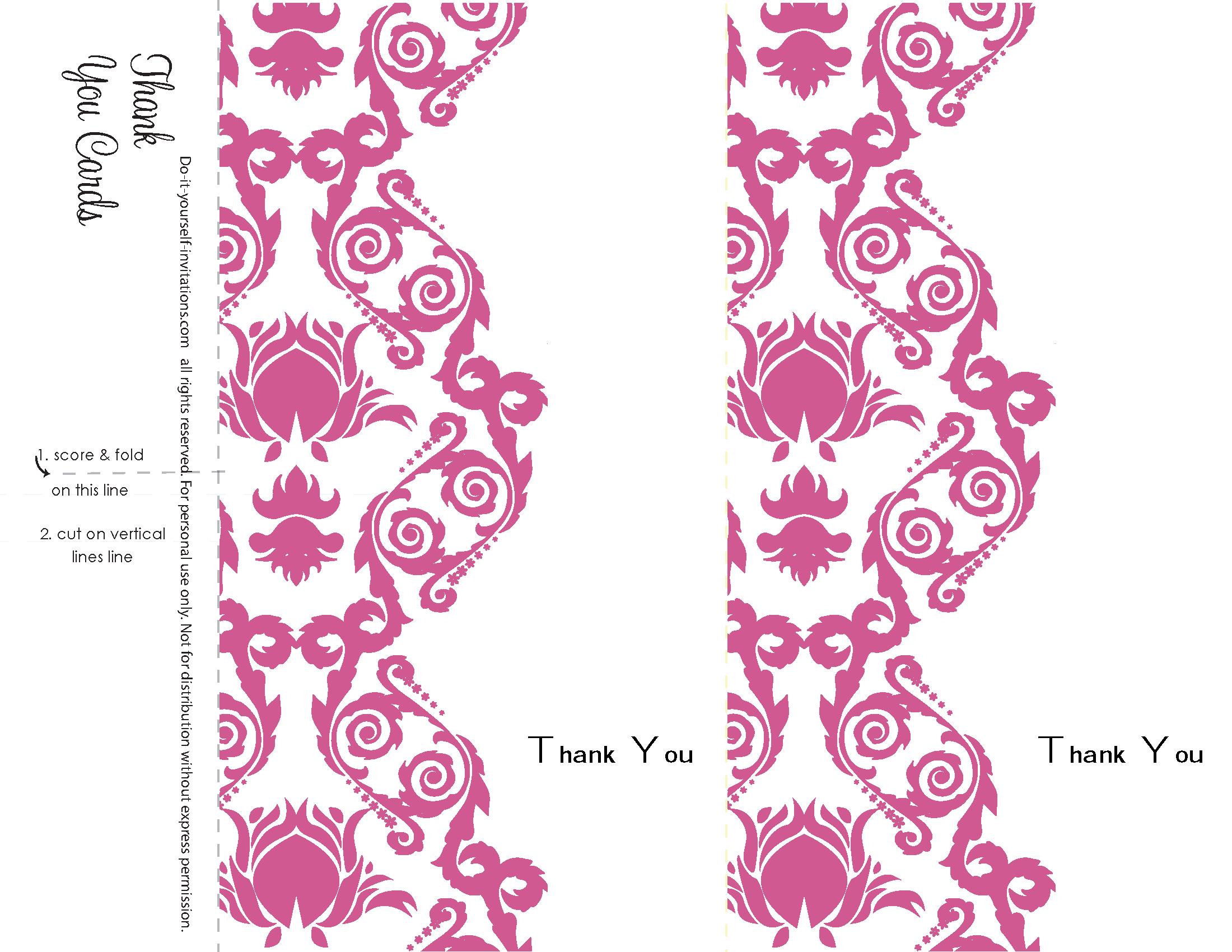 Thank You Cards. Printable Damask Wedding Invitation Kits: Gerbera ...
