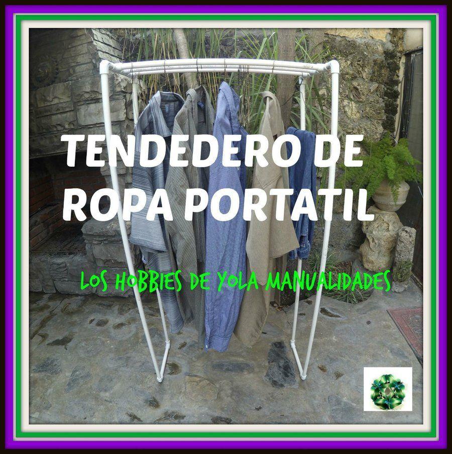 Tendedero de ropa port til hecho con tubos de pvc craft - Tendederos de ropa ...