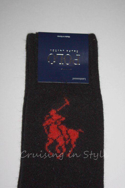 Ralph Lauren Socks Black BIG Pony Men's Dress Socks sz 10-13 Wool Rabbit NEW  #RalphLauren #DRESSORCASUAL