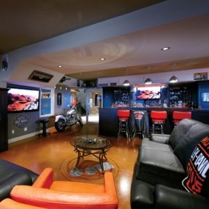 Very Cool Family Room Living Design Harley Davidson Theme