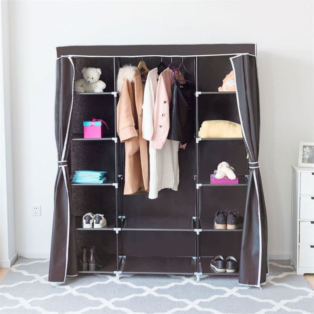 60 Non Woven Fabric 12 Shelves Wardrobe Storage Portable Clothes Closet Hw57333cf In 2020 Clothes Storage Organizer Portable Wardrobe Wardrobe Storage