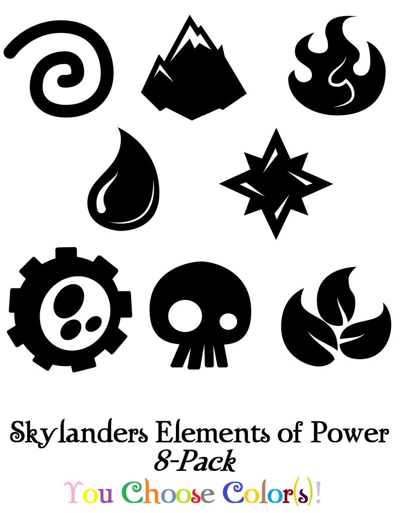Skylanders Spyro Elements of Power 8 Pack Sticker/Decal Set Boys ...