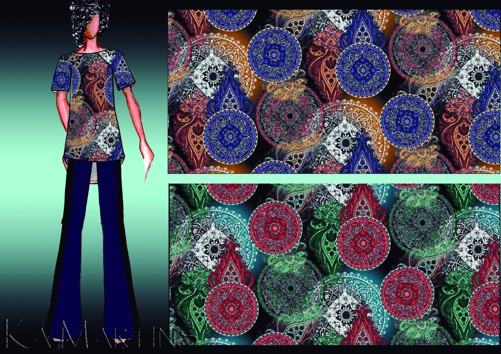 Mandalas indianas - Desenvolvimento em conjunto com Márcio e coloração por Ká Martins para Natan Tecidos.