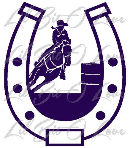 barrel racer in a horseshoe vinyl decal cowgirl rodeo girl sticker rh pinterest com Barrel Racing Horses barrel racing logo images