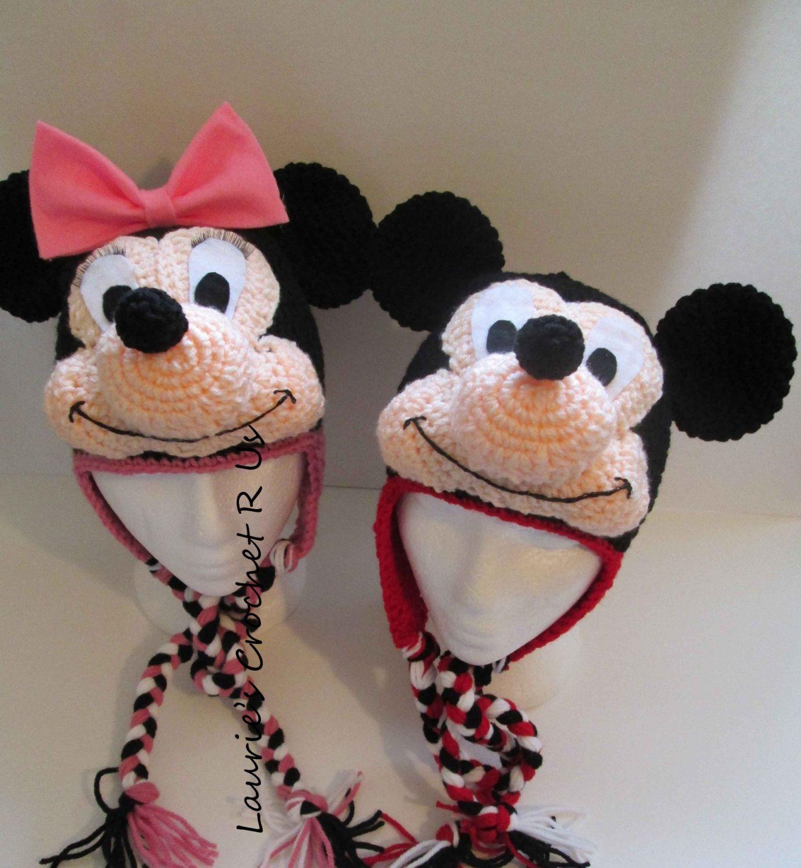 PDF.....Quality Handmand Crochet Minnie & Mickey Mouse inspired hat ...
