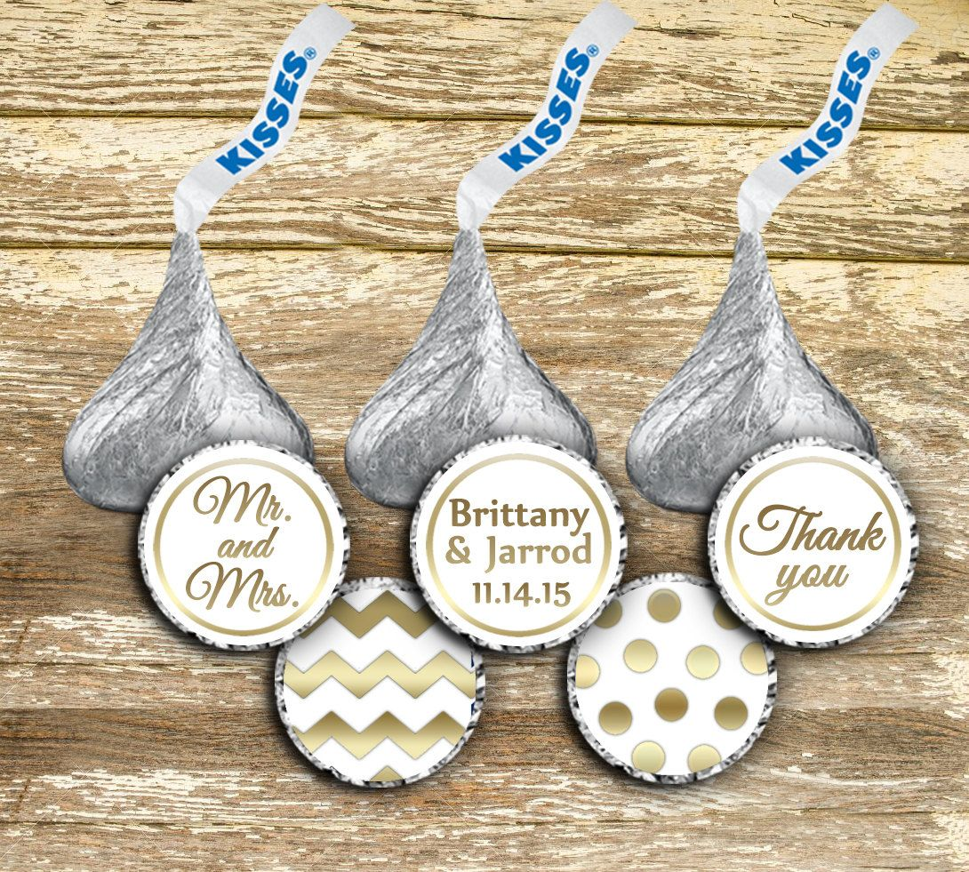 Hershey Kiss Stickers Wedding Gold Kisses Labels
