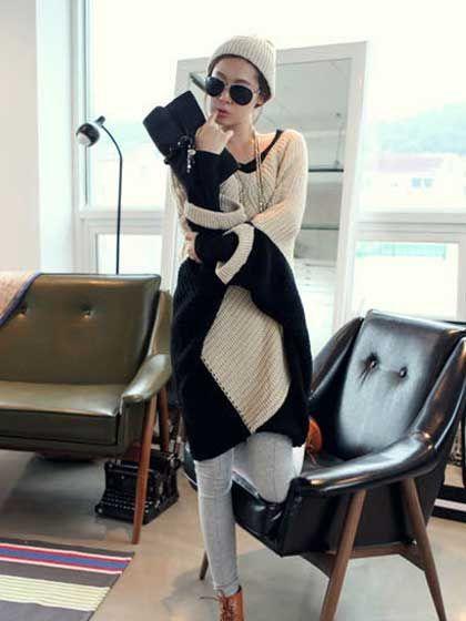 Fabulous Color Block Dolman orezaná rukávmi Nepravidelné V Neck Long Pullover