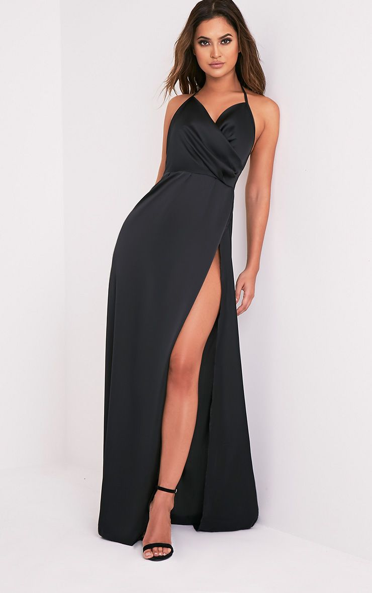 Cheap Sale Collections Black One Shoulder Draped Detail Extreme Split Maxi Dress Pretty Little Thing Authentic For Sale Cheap Sale Top Quality gFLLnNj