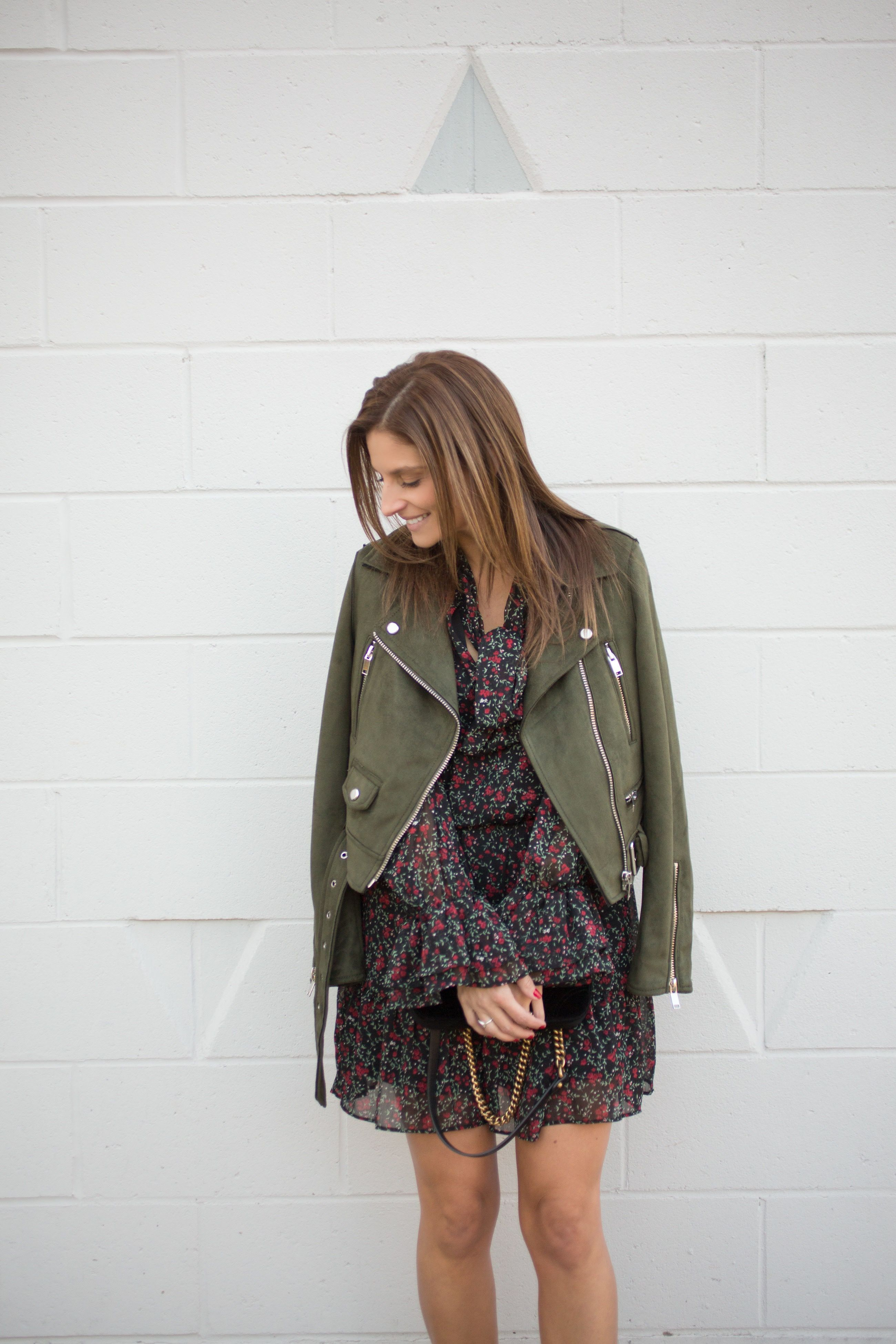 Fall outfit ideas with green suede moto jacket, floral