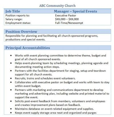 Sample Church Employee Job Descriptions Job description and Churches - job evaluation report