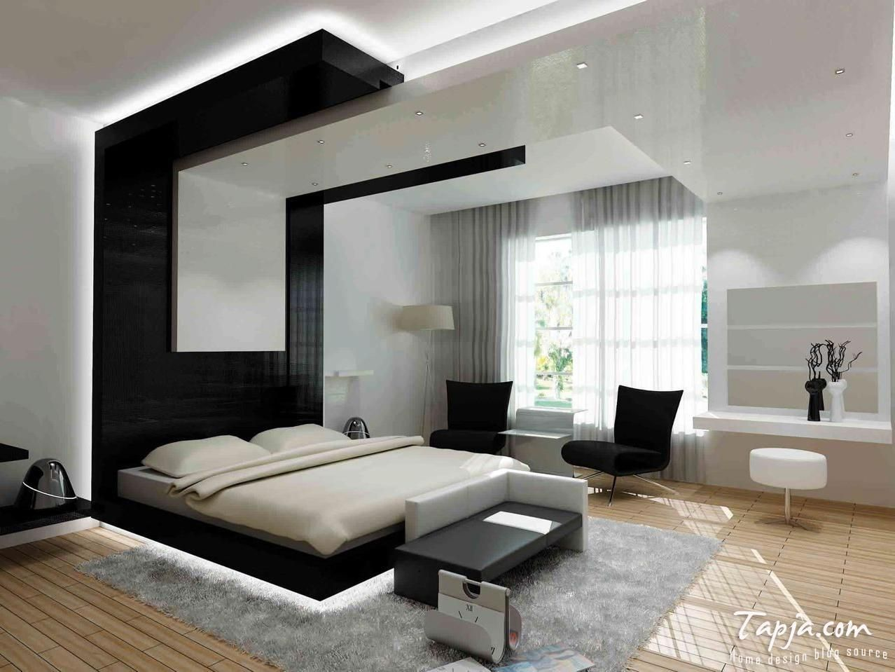 Stunning Modern Bedroom Black Color With Wooden Flooring Unfinished ...