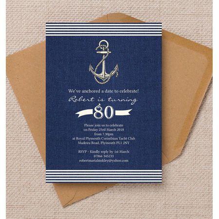 Nautical Sailing Themed 80th Birthday Party Invitation Pinterest