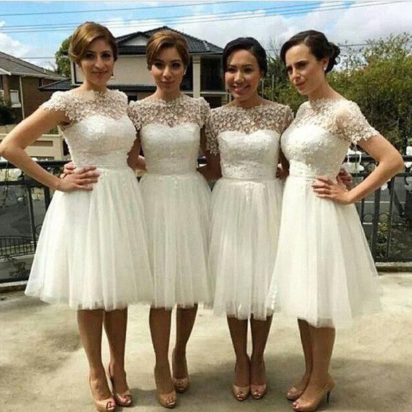 Beautiful Cap Sleeve White Tulle Short Sleeve Knee Length Wedding ...
