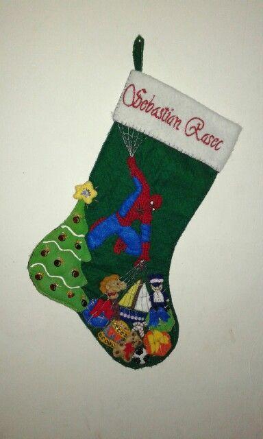 Bota navidad Spider-Man fieltro  coty árbol regalos