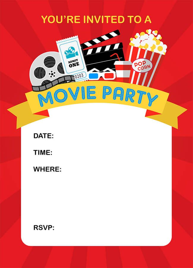 It is a graphic of Free Printable Movie Party Invitations throughout night printout