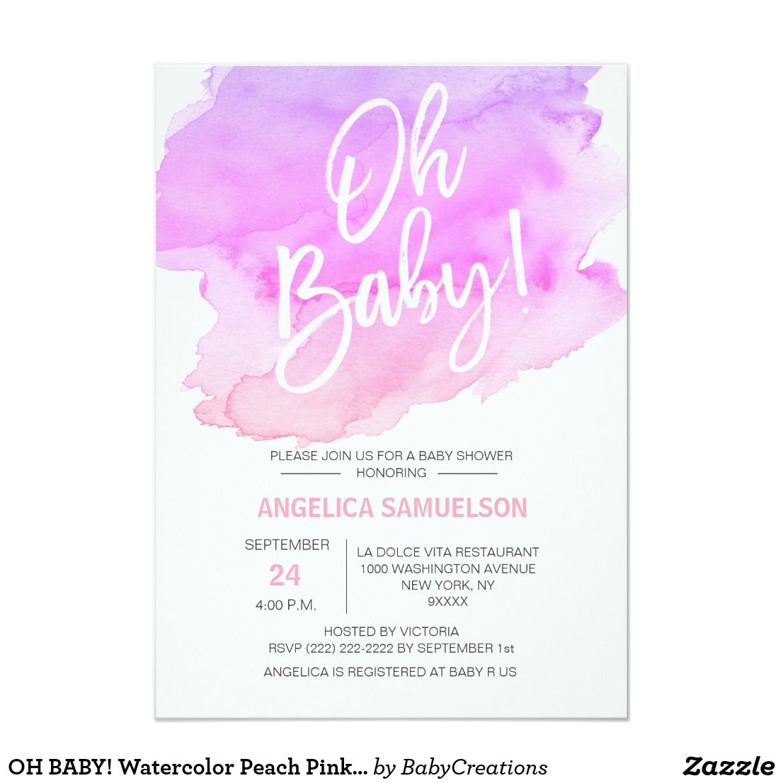 OH BABY! Watercolor Peach Pink Purple Baby Shower Card Modern ...