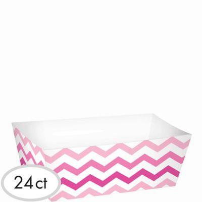 Pink Chevron Paper Food Trays 24ct