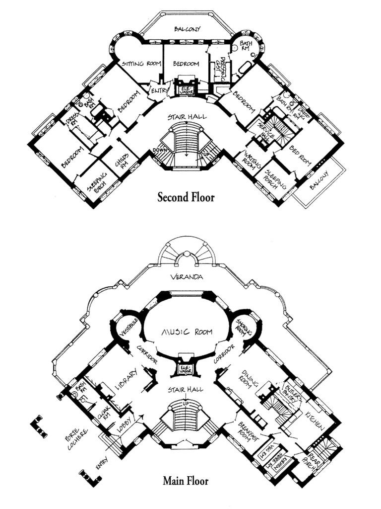 Main And Second Floor Plans Of The Henry T And Georgiana Pittock Mansion In Portland Oregon Designed By Vintage House Plans Mansion Plans Mansion Floor Plan