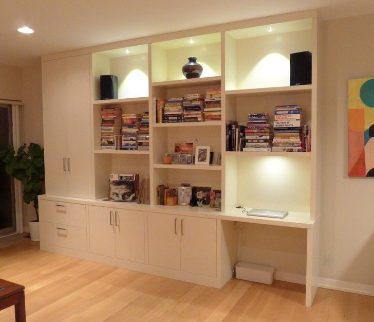 Furniture Minimalist Wall Unit For Shelves And Storage With Desk Piles Of Books Collections Twin Sound System Units On Top Some Pictures Frames