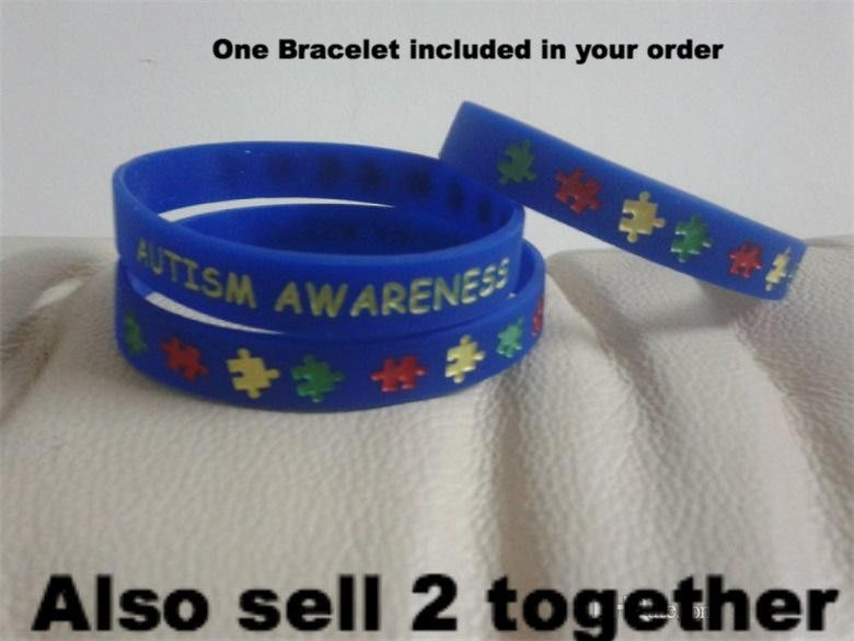 Blue Autism Awareness Rubber Silicone Bracelet At The