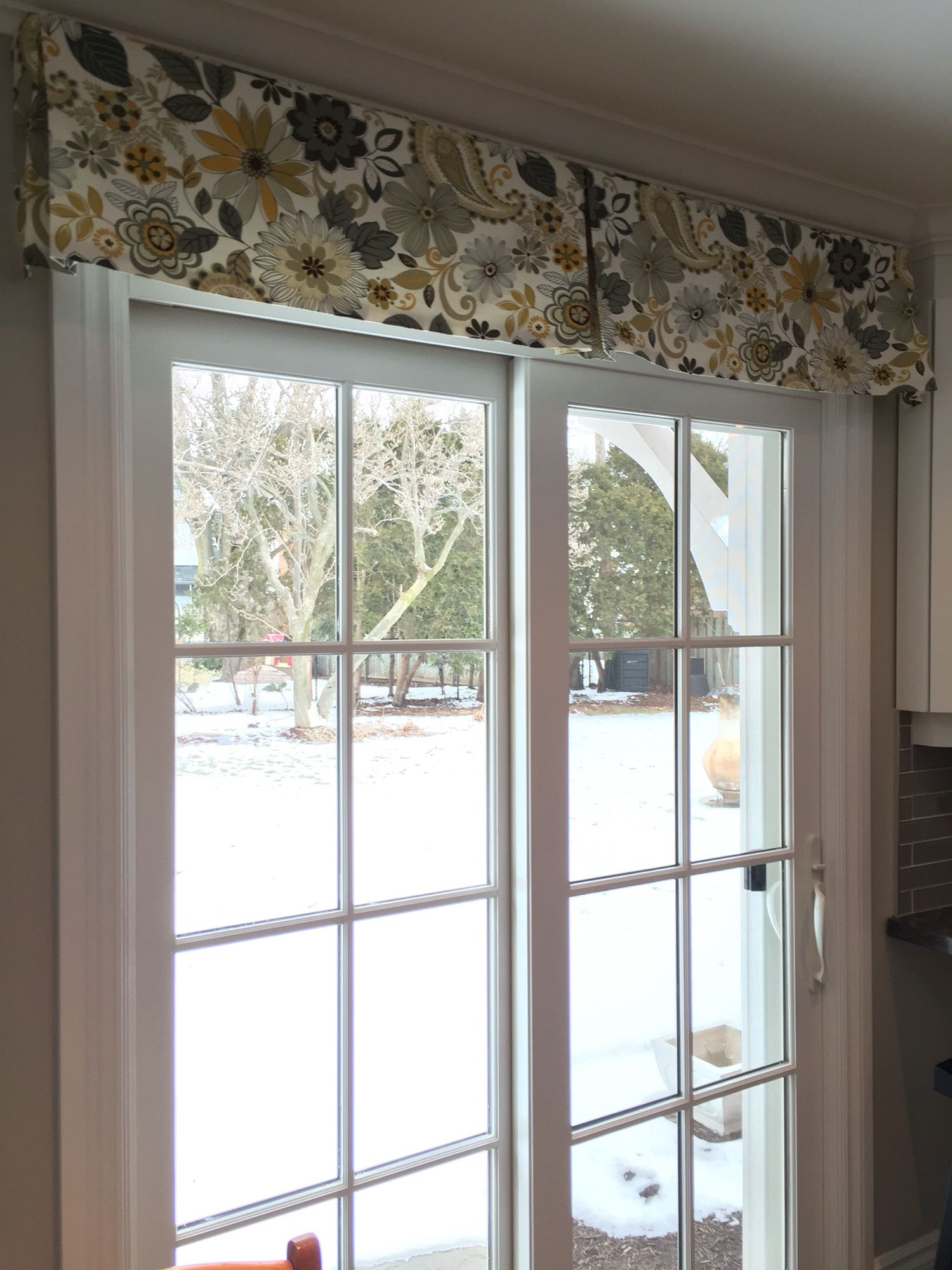 Patio Door Window Treatment. Using A Simple Decorative Box Pleat Valance In  A Fun Fabric
