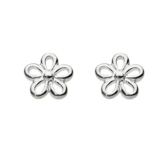 Dew Womens Sterling Silver Simple Flower Stud Earrings Flower Earrings Studs Silver Flower Studs Sterling Silver Flowers