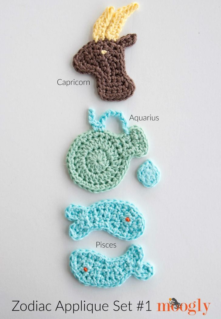Zodiac Crochet Appliques Set #1: Capricorn, Aquarius, and Pisces ...