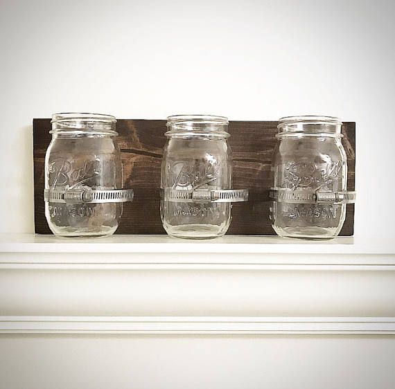 Handcrafted DIY Mason Jar Holder Wood Toothbrush Holder | Bathroom
